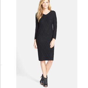 Andrew Marc Leather Effect Sweater Dress